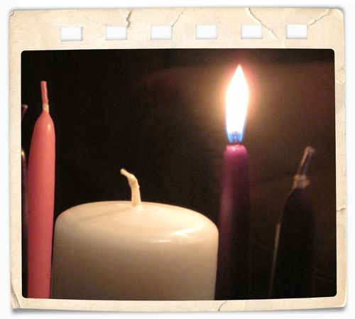 Candle with frame